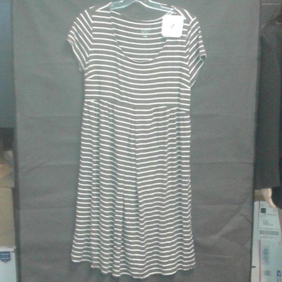 Maternity Striped Short Sleeve A-Line Dress